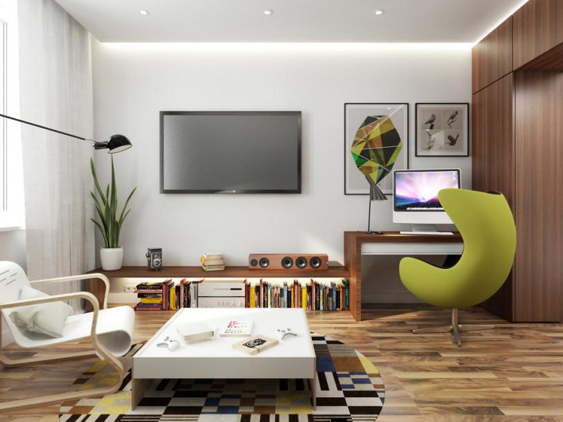 Дизайн гостиной 17 кв. м .